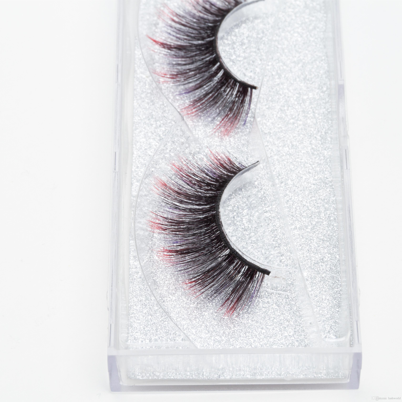 Seashine Best selling strip silk colorful eyelash qingdao factory 3d colorful silk lashes false eyelashes epacket free shipping