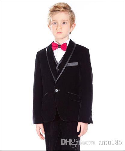 Özelleştirilmiş boy siyah şal yaka takım elbise üç parçalı takım (ceket + pantolon + yelek) çocuk dans parti elbise çocuk mezuniyet töreni elbise