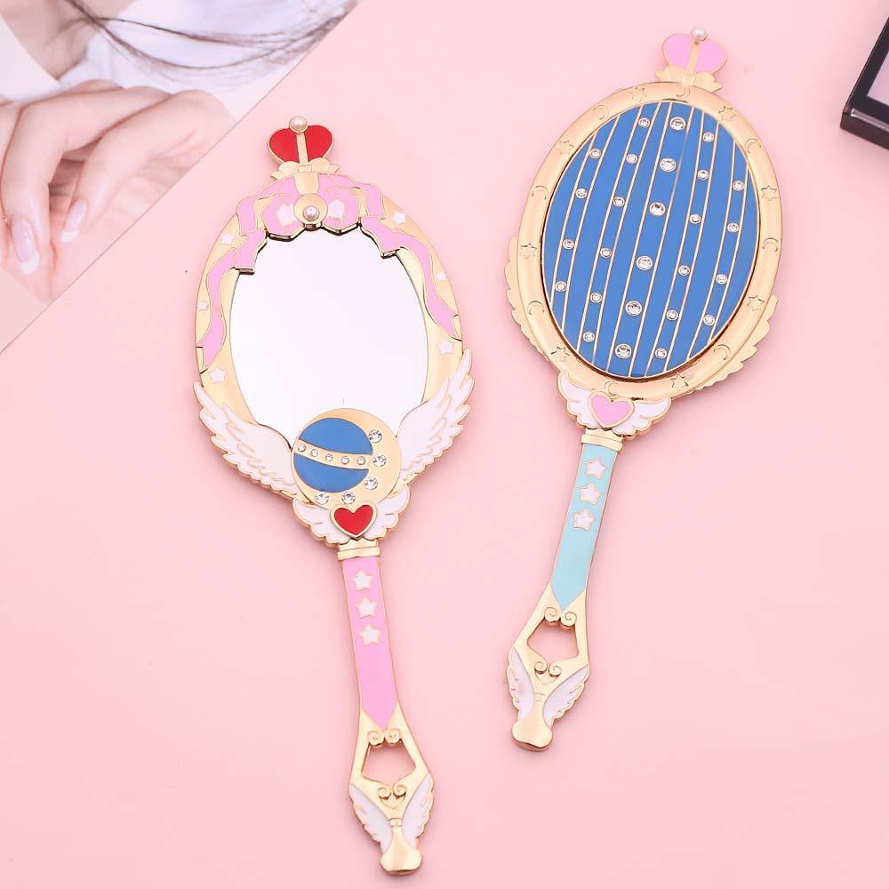 Sailor Moon Metal Oval Hand Held Makeup Mirror Ladies Girl Crown Mirror Beauty Dresser Makeup Tool Red Blue With Crystal