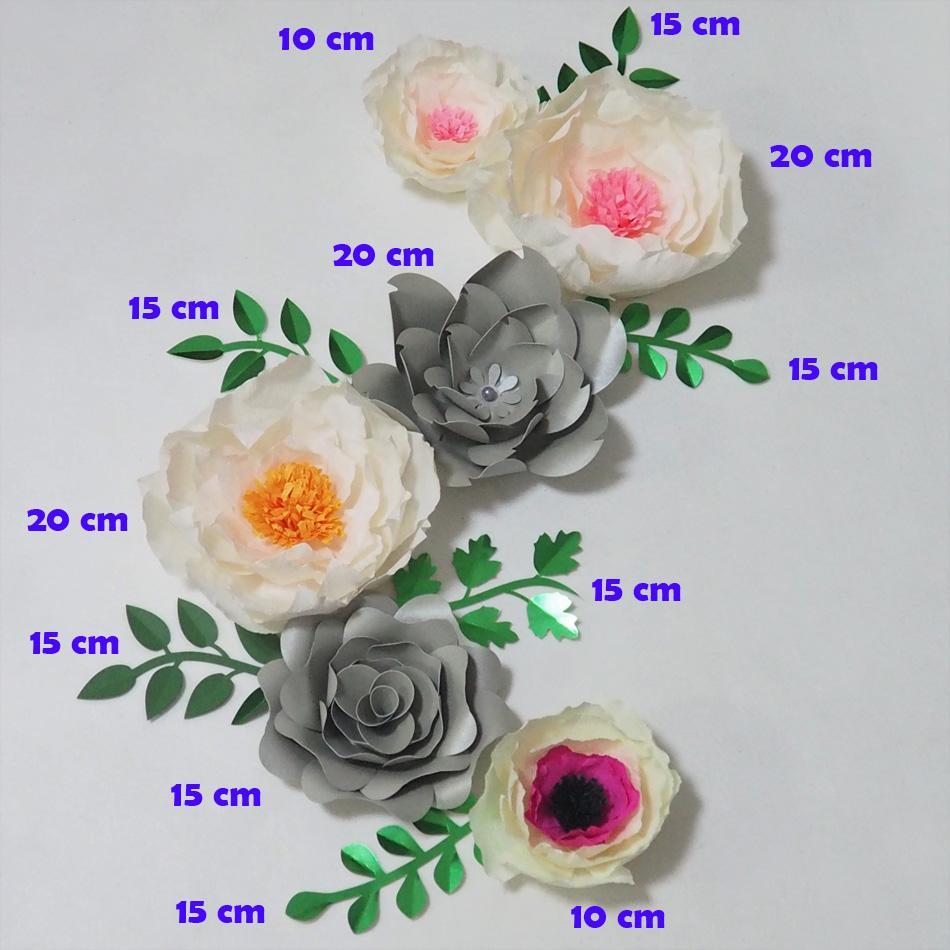 Giant Crepe Fiori di Carta Artificiale Flores Artificiale 6 PZ + 6 Foglie Per Eventi di Nozze Sfondo Bambino Vivaio Mescolare Mestiere Forniture