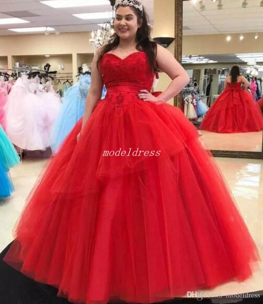 Vestidos De Quinceañ Red Ball Gown Quinceanera Dresses Sweet Heart Backless  Sweep Train Appliques Gowns For Sweet 16 Vestidos De 15 Anos Beautiful