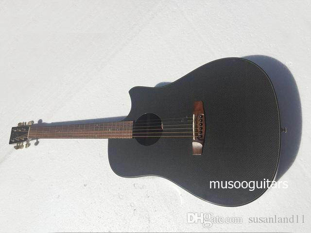 Musoo brand acoustic guitar with Carbon fiber top in black color