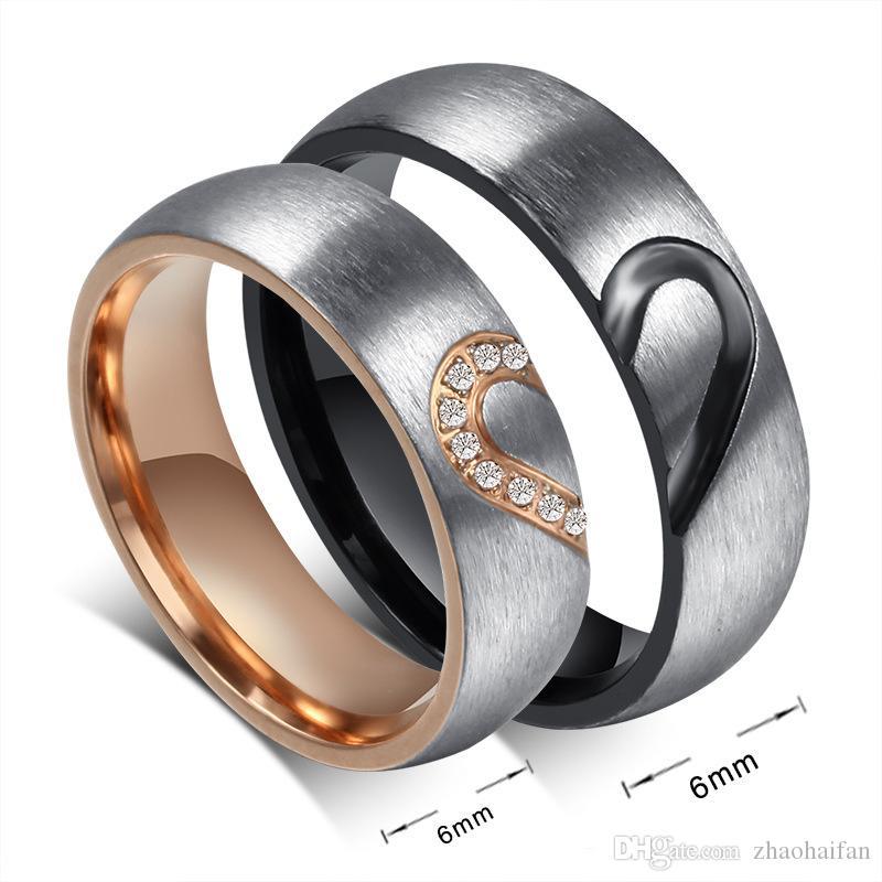 ZHF Bijoux Couple Bague Love Heart Heart Wedding Promise Anneaux Ensemble Bandes de fiançailles en acier inoxydable pour hommes et femme