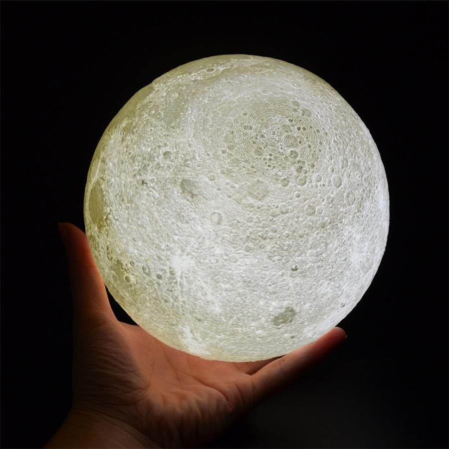 Moon Lamp, 3D Printing LED Night Light Lunar Moon Light with Stand and Warm & Cool Two Colors and Dimmable & USB Rechargeable for Baby Kids