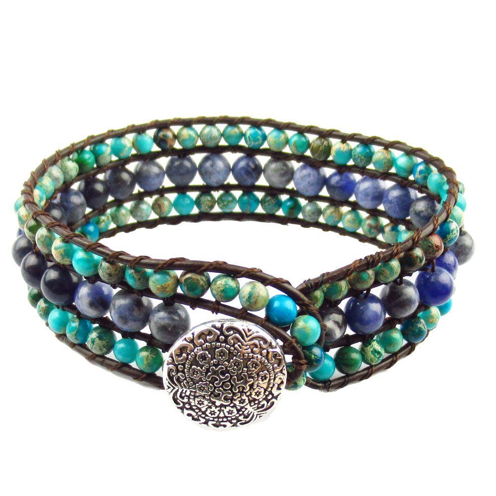 Новый трехслойный браслет из натуральной змеиной яшмы Sodalte Кожаные браслеты-обертки Манжеты Браслет Ювелирные изделия Dropshipping Подарки для девочек