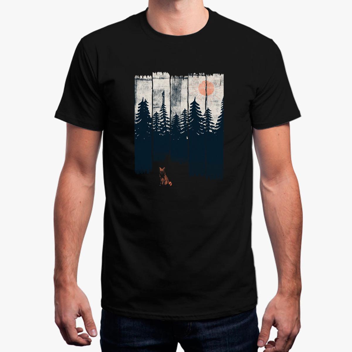 Mode T-Shirt für Männer ein Fuchs in der Wildnis ... einfarbig Herren T-Shirt Rundhals lose männliche T-Shirt für Männer Euro Größe Tops