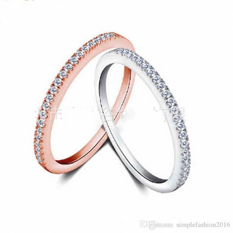 2 colores de joyería de moda anillos de la banda de boda para las mujeres Match Diamonique Cz 925 anillo de la fiesta de compromiso femenino de plata
