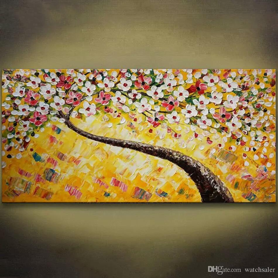 2018 Yellow Flower Tree Hand Painted Oil Painting Modern Large Wall ...