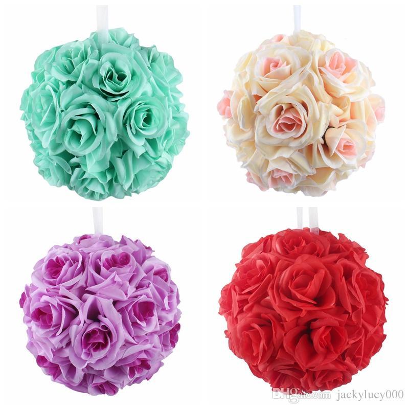 6 بوصة ضياء الزفاف الحرير بوماندر تقبيل الكرة الاصطناعي كرات زهرة حلية للمنزل حديقة السوق ديكور
