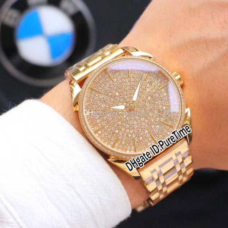 Nouveau Tonda 1950 ClarityPFC267-1064600-B10002 Or Jaune Lunette Sertie De Diamants Cadran 43mm Automatique Montre Homme 4 Styles Pas Cher PN42e5