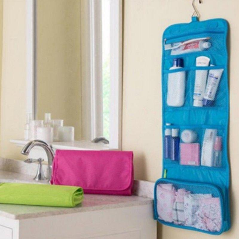 Roll Up Folding Kit de Higiene De Viagem Underwear Organizador De Armazenamento Maquiagem Saco Cosmético Lavagem Saco frete grátis