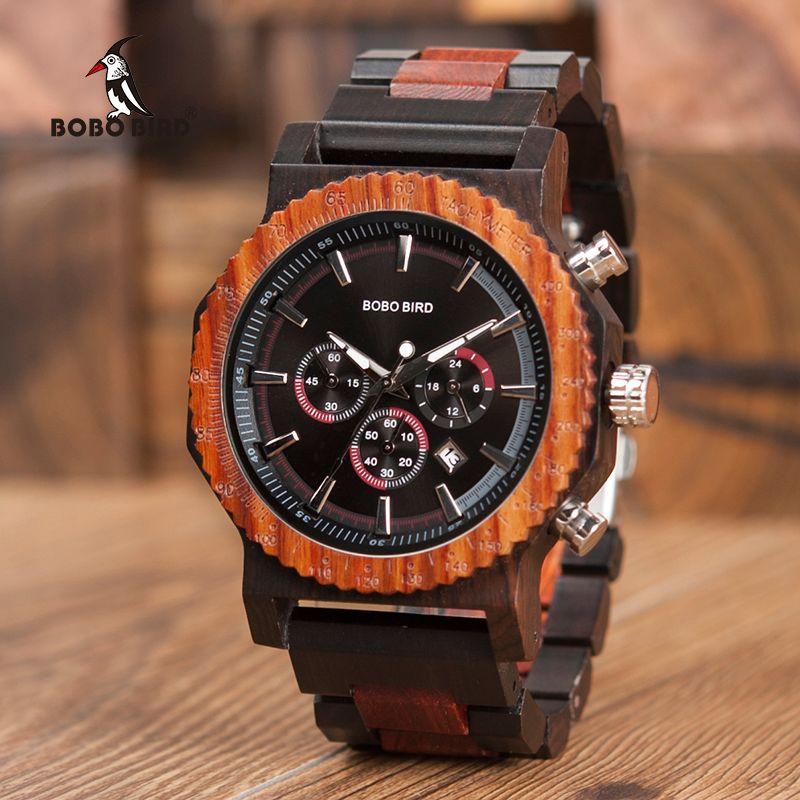 Comercio al por mayor Reloj de madera para hombre Reloj de madera clásico Cronógrafo Reloj de color brillante Diseño de moda elegante con relojes de gran tamaño relogio