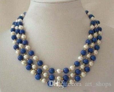 3 linhas de colar de fecho de lapis lazuli pérola branca real