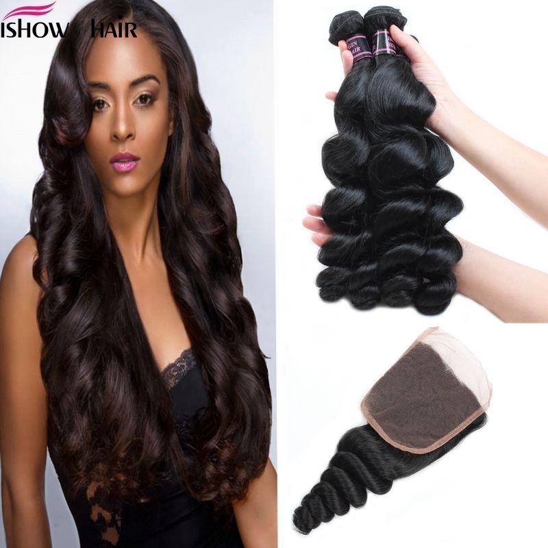 Envío gratis Good8A Indio brasileño Malasia Virgen Virginal Wlay 3pcs con cierre de encaje Extensión de cabello puro sin procesar Productos