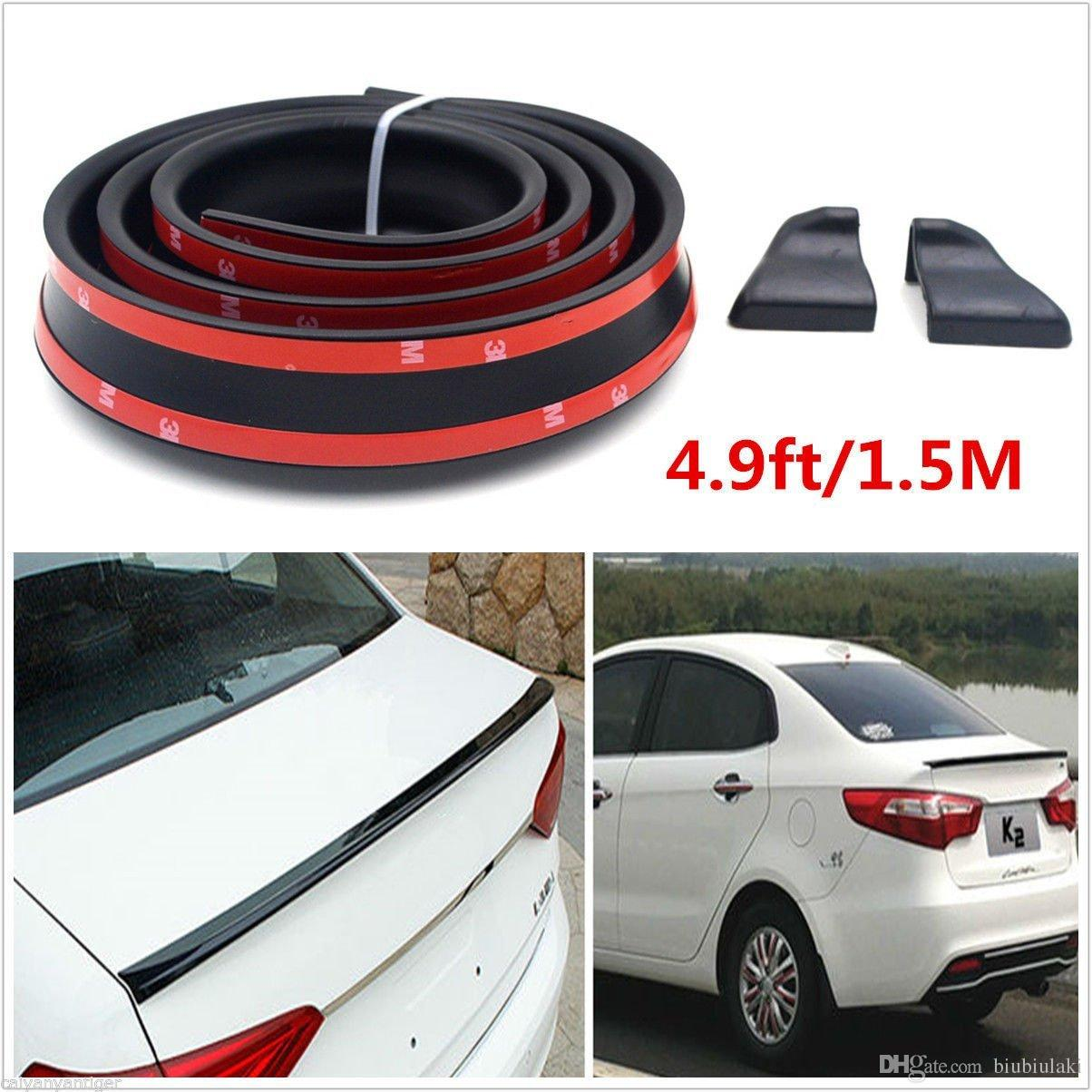 4.9FT//1.5M Universal Car Roof Trunk Spoiler Wing Lip Trim Sticker Fit Front Rear