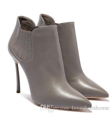 New Arrivals Black Leather Women Ankle Boots Pointed Toe Blade Heels Short Bootie Slip-on Metal High Heeled Ridding Boot