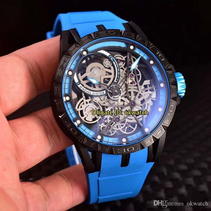 7 style de haute qualité Montre Excalibur PVD noir Japon Miyota automatique Mens Watch RDDBEX0575 Bleu Skeleton Dial-bracelet en caoutchouc Gents Montres