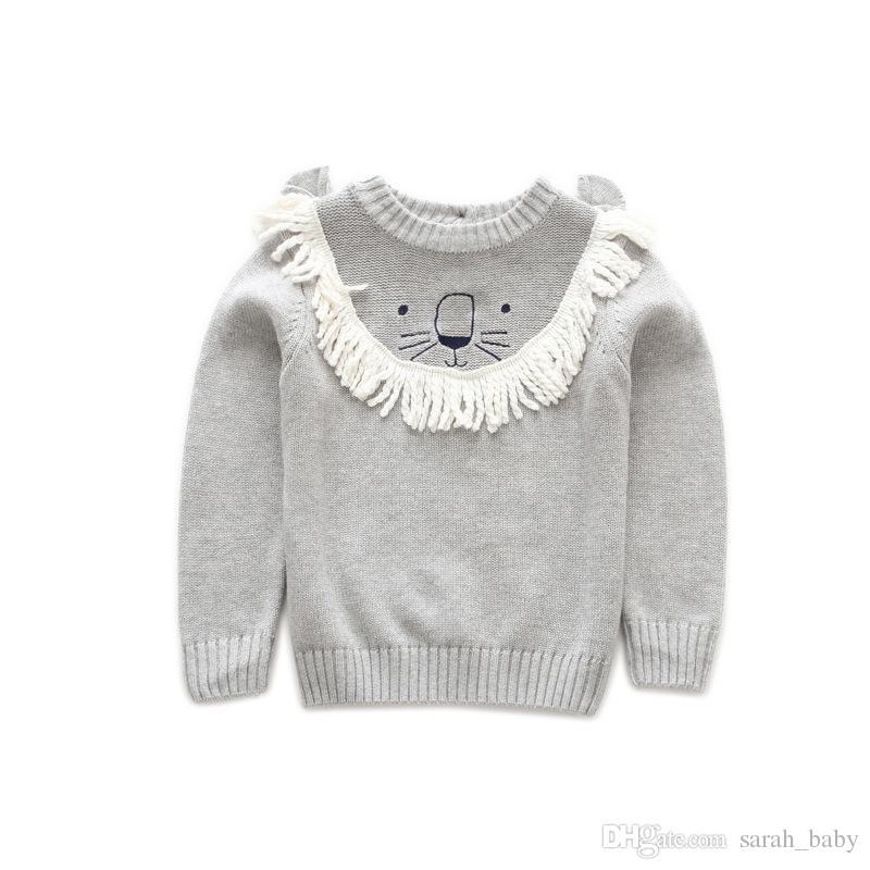 2018 nueva primavera otoño ropa para niños de dibujos animados de manga larga cuello redondo pequeño león suéter del bebé ropa para niños