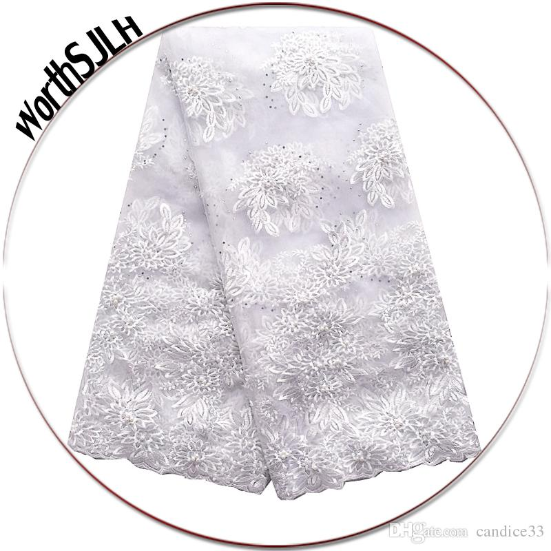 Mesh Embroidery Nigerian Net Lace Fabric 3D Flowers Royal Blue African Tulle Lace Fabric Wedding White Lace Fabric For dress
