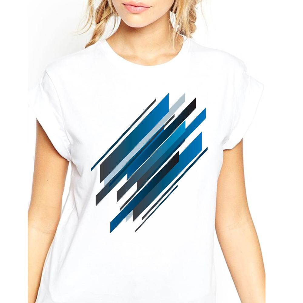TEEHEART Women Lunar Fruit Geometric Abstract Blue Summer Cool Colors Art Printed Female Lady Girl Montain Cool Tops Tee qq007