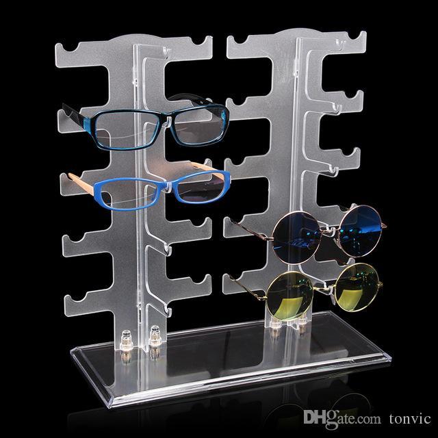 Tonvic Оптовая Матовый Пластиковые очки Sunglass Дисплей Стенд держатель стойки для 10 пар 120411RY-SUNS04I