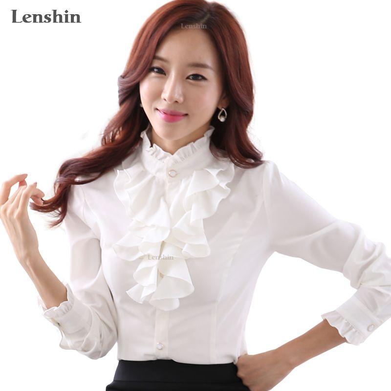 Lenshin blusa blanca moda mujer manga larga camisa casual EleRuffled cuello oficina dama Tops mujeres desgaste