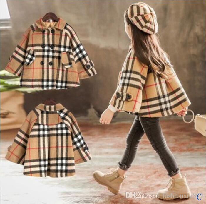 2021 Inverno Bambini Fashion pagato Lavern Bambini Inghilterra Cappotto in stile Inghilterra Cappotto Baby Girls Giacca Abbigliamento a doppio petto Gloak Abbigliamento Abbigliamento