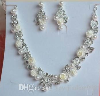 wonderful natural pearl diamond lady's necklace earings set (18) cscx
