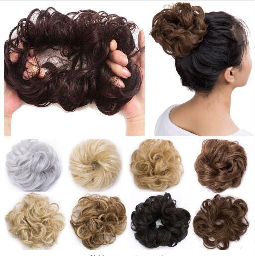 Curly Heat Resistant Synthetic Hair pieces Colors Women Chignon with Rubber Band Hair Extension Updo Donut Hairpieces