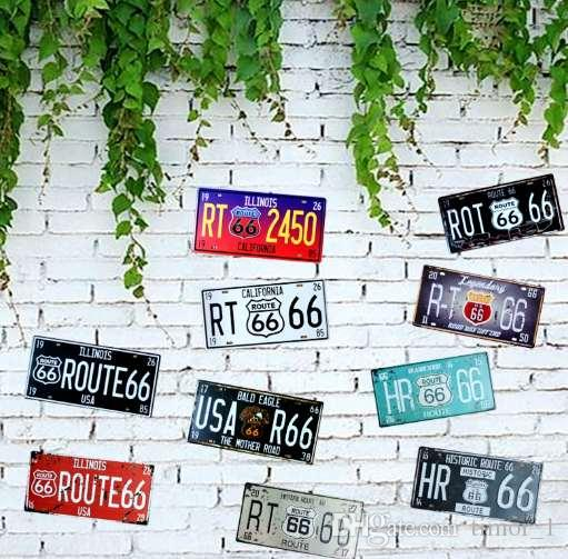 CALIFORNIA ROUTE 66 license plate Metal Painting Vintage Tin Signs Wall Coffee Bar Home Art Decoration 30X15CM AE-2-16