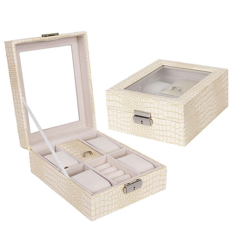 Portable Transparent Display Watch Jewelry Organizer Box Case With Lock 4 Slots