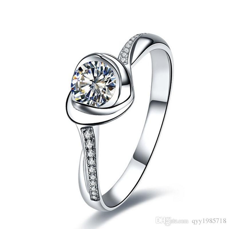여성을위한 우아한 심장 결혼 반지 0.5 CT 라운드 컷 합성 다이아몬드 약혼 반지 기념일 925 스털링 실버 쥬얼리