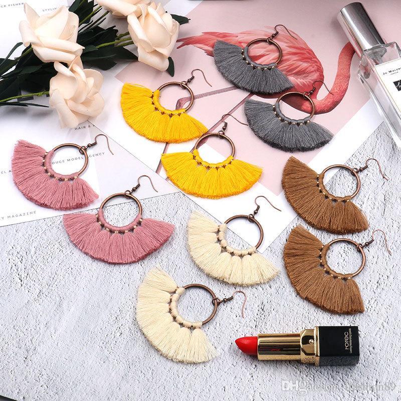 Womens Fashion Bohemian Earrings Long Tassel Fringe Dangle Hook Earring Eardrop Ethnic Jewelry Gift
