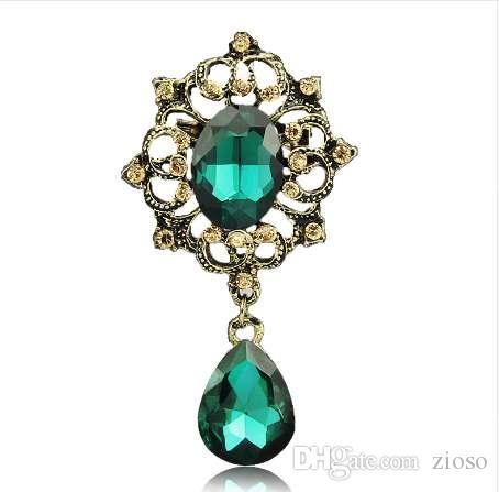 H: HYDE Vintage Goutte D'eau Couronne Broche Strass Cristal Femmes Broche De Mariée Broche Bijoux De Fête Mujer Bijoux Cadeau