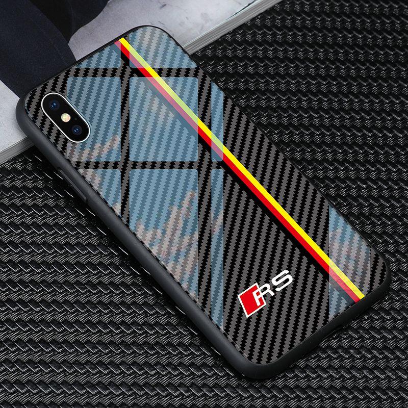 Envío libre TPU + vidrio templado del coche RS6 Caso logotipo de Audi para el iphone Teléfono 11 Pro X XR XS MAX 6 7 8 más 6S Samsung S8 S9 S10 además la nota 8 9