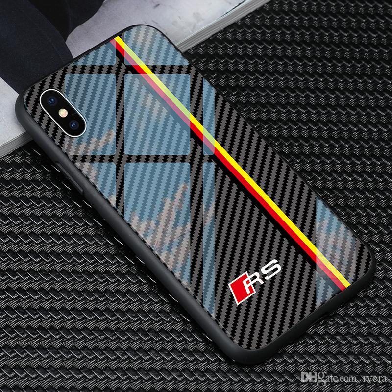 Frete grátis carro RS6 Caso Logo Telefone audi vidro temperado para iphone TPU + 11 pro X XR XS MAX 7 6 6S 8 mais samsung S8 S9 S10 além nota 8 9