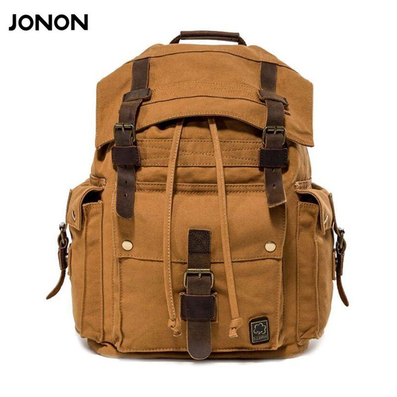Jonon الرجال قماش جلد سفر سعة كبيرة الرجال حقيبة الظهر الظهر حقيبة مدرسية حقيبة