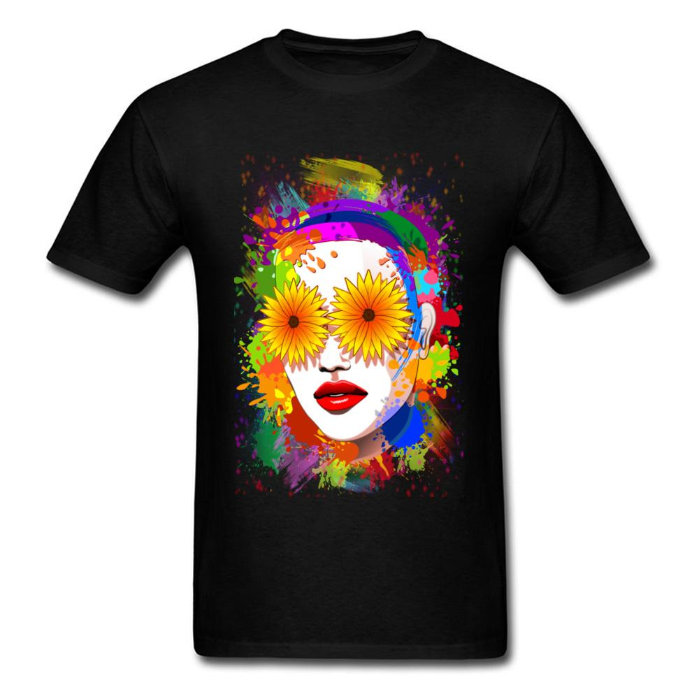 Casual Girl Summer Flowers Eyes Tees for Men Popular Lovers Day Round Neck 100% Cotton Fabric Short Sleeve T-shirts Tee Shirt