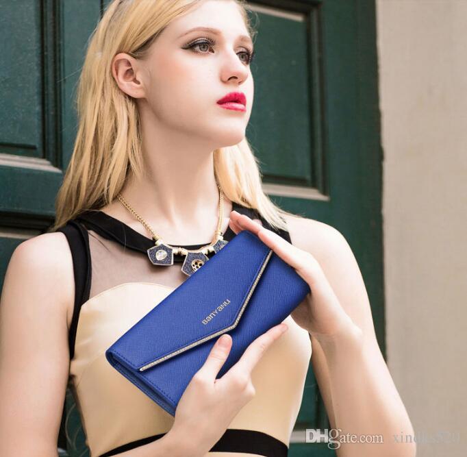 2018 New Ladies' purse, long female handbag, European and American hide, big capacity, drill seventy percent off coins. Lady Wallet Multi Ca