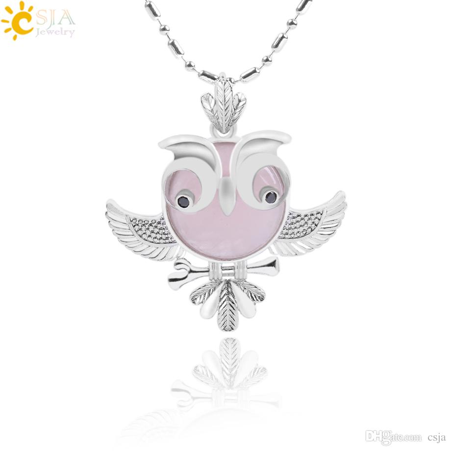 CSJA Flying Owl Women Jewelry Natural Semi Precious Gems Stone Pendant Necklaces Long Chain Necklace Big Eye Bird Summer Jewellery F097 B