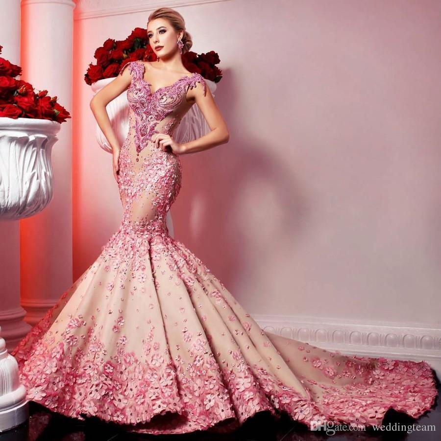 2019 bescheidene Perlen Mermaid Abendkleider V-Ausschnitt 3D Appliqued Pailletten Prom Kleider Backless Sweep Zug plus Größe Formelles Kleid