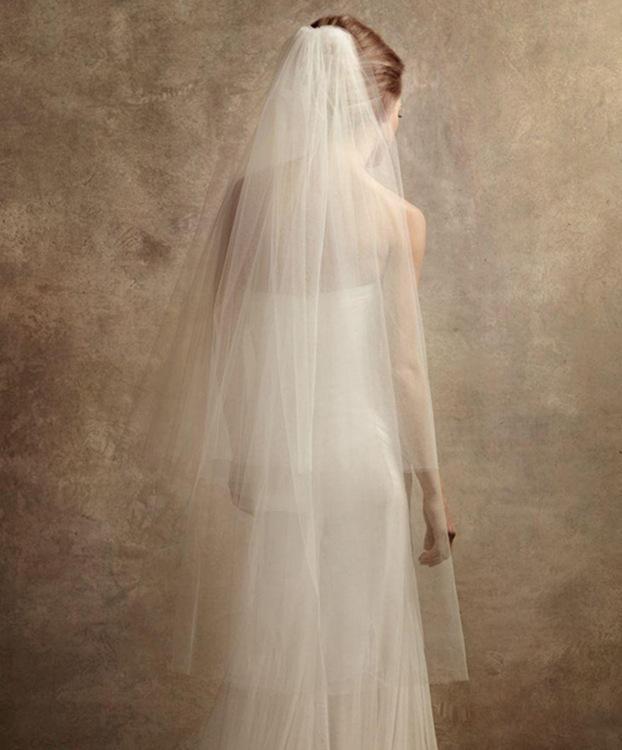 Yeni İki Katmanlar Kısa Peçe Ile Tarak Toptan Basit Kesim Kenar Peçe Yumuşak Tül Gelin Accesorie Beyaz Fildişi Düğün Veils
