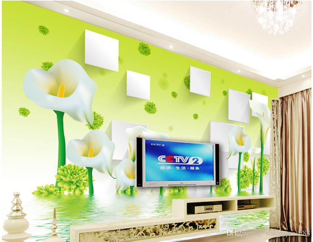 Green Calla Lily Flower Reflection 3D Stereo TV Background Wall photo wall murals wallpaper