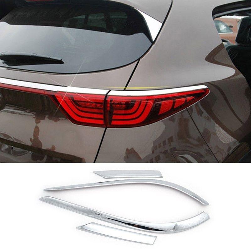 For Kia Sportage QL 2017 2018 Chrome Rear Tail Light Taillight Lamp Cover Trim Eyebrow Eyelid Bezel Garnish Molding Car Styling