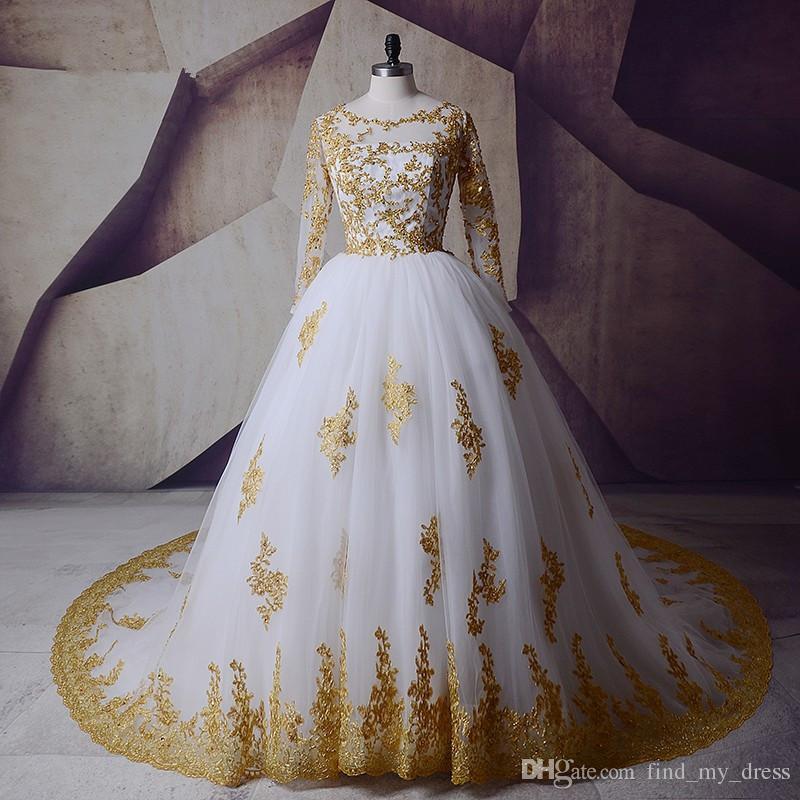 2019 бусины скромные белые и золотые реальные картины шариковины свадебное платье с длинным рукавом мусульманский арабский свадебный кружевной тюль ручной работы аппликации блеск