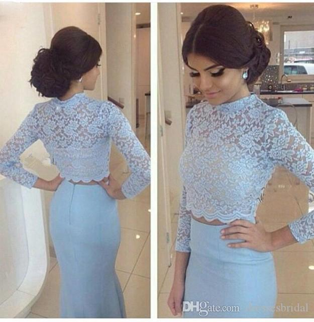 Robe de soiree longue 2018 Blue Lace Long Sleeve Mermaid Two Piece Evening Dresses Long O-Neck Satin Prom Gown Formal Dresses