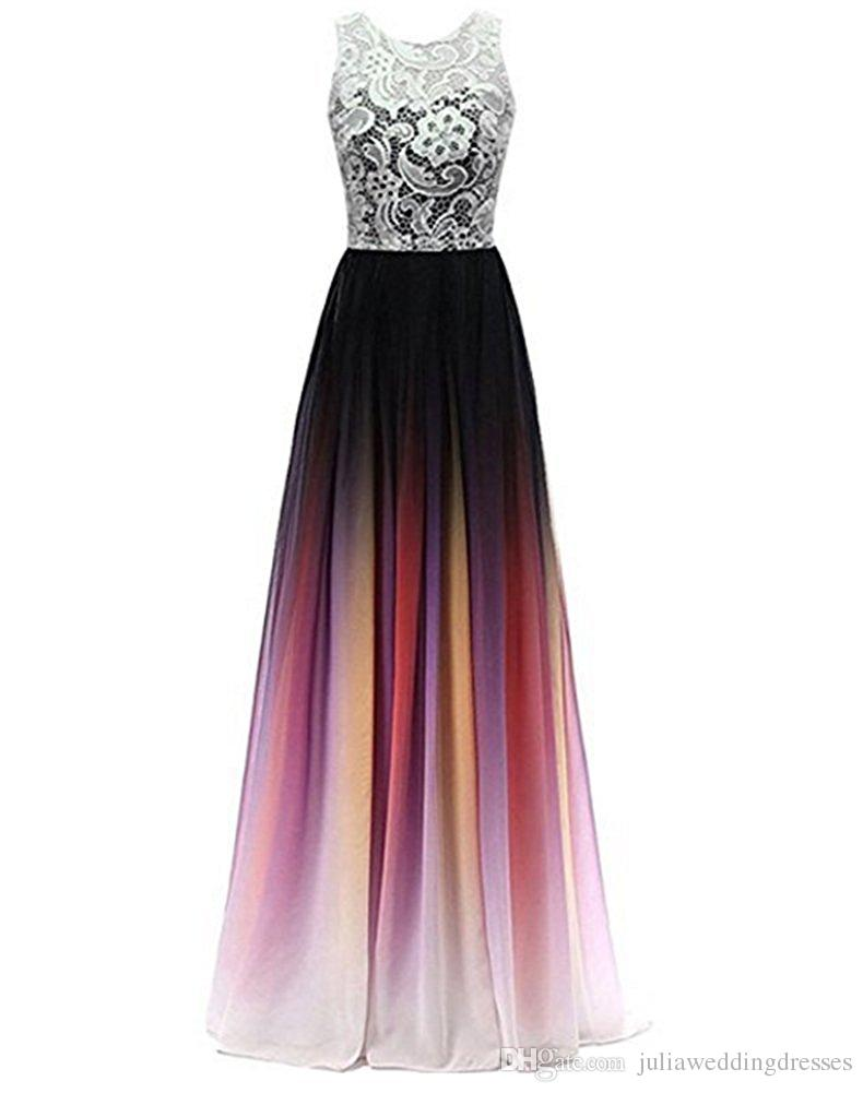 2018 New Cheap Lace Gradient Long A Line Chiffon Prom Evening Dresses Women Formal Gowns Floor-Length Lace Up Party Gown QC1110