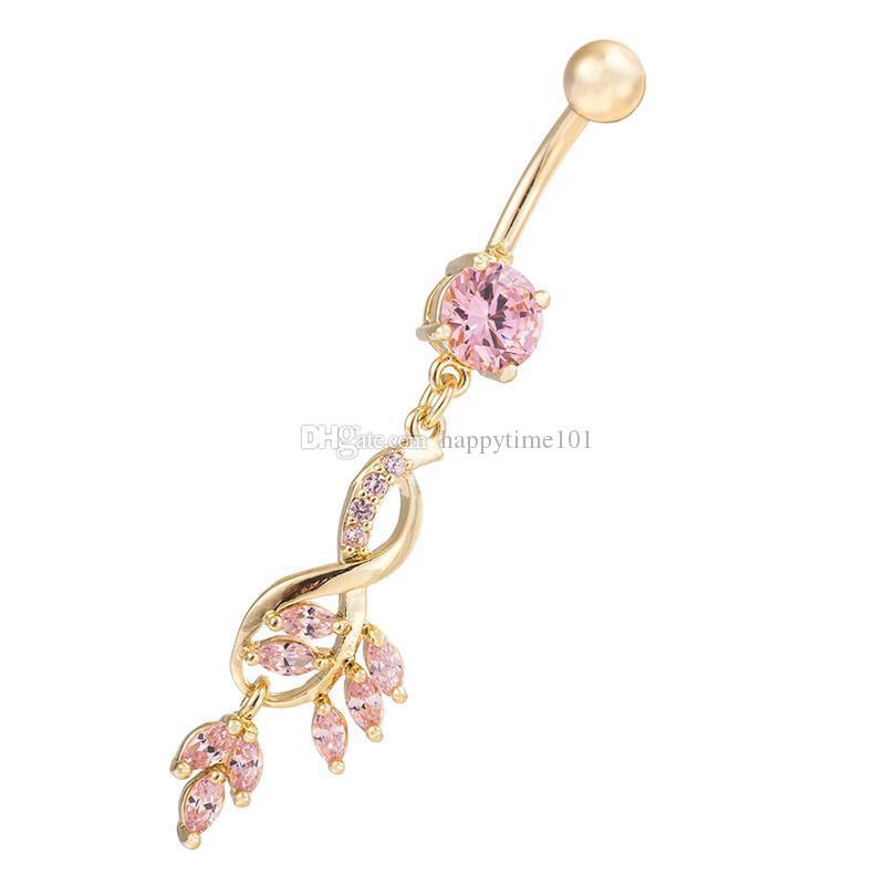 Nuova annata di modo di cristallo di fascino del fiore ciondola zircone tasto di pancia anello placcato oro foglie di ragazza regalo per i monili delle donne