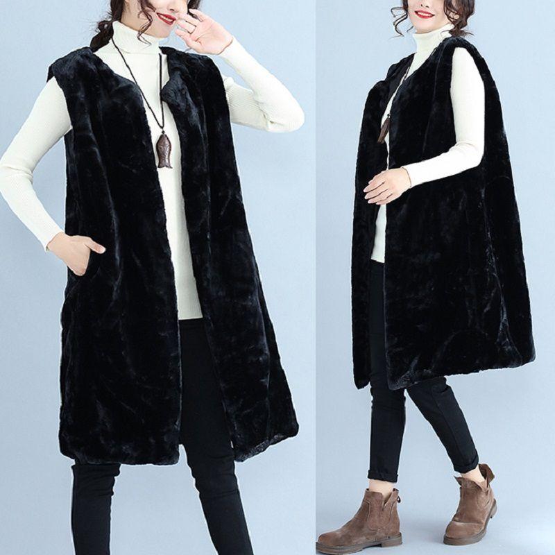 Женские жилеты плюс размер 2021 осенью и зимняя шерстяная жилет из искусственного меха O-шеи воротник пальто куртка Chalecos