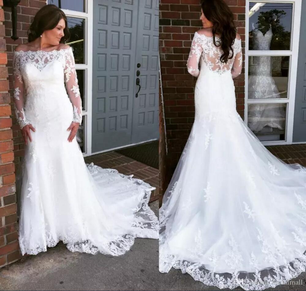 빈티지 2019 년에 어깨 레이스 결혼 예복 긴 소매를 가진 인어 레이스 아플리케 웨딩 드레스 플러스 사이즈의 신부 드레스 예배당 기차